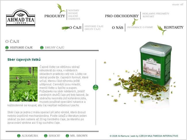 Ahmad tea - webová prezentace 1