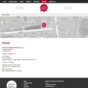 Databáze hlasů.cz - stránka s kontakty a Google mapou