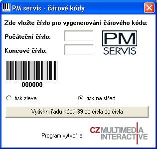 PM servis - čárový kód