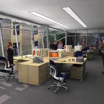 Kancelář s postavami