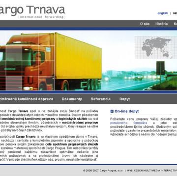 Cargo Trnava - webová prezentace 2