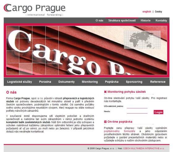 Cargo Prague webová prezentace 01