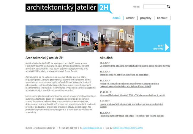 Architektonický Ateliér 2H webová prezentace