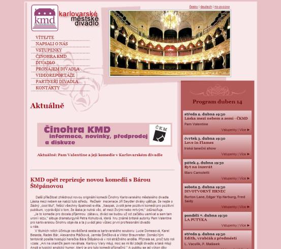 Městské divadlo Karlovy Vary - webová prezentace