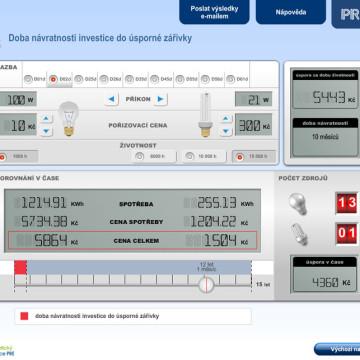 Výpočtové flashové aplikace pro Centrum energetické poradenství PRE 12