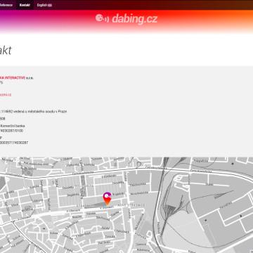 Dabing.cz - stránka s kontakty