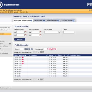 Grafická koncepce uživatelských účtů PRE v3 podstrana