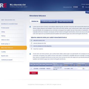 Grafická koncepce uživatelských účtů PRE v2 podstrana
