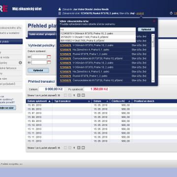 Grafická koncepce uživatelských účtů PRE v4 stranka účty našeptávač