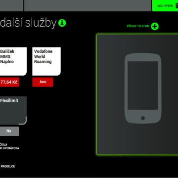 Prodejní aplikace Vodafone - nabídka doplňkových služeb