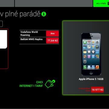 Prodejní aplikace Vodafone - konfigurace tarifů a přístroje
