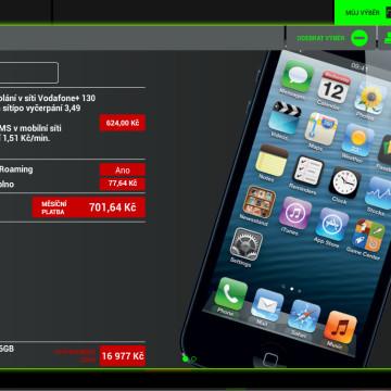 Prodejní aplikace Vodafone - náhled zkompletované nabídky