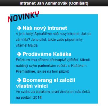 Mobilní intranet aplikace