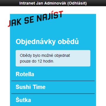 Mobilní intranet aplikace - možnost objednat oběd přímo z aplikace