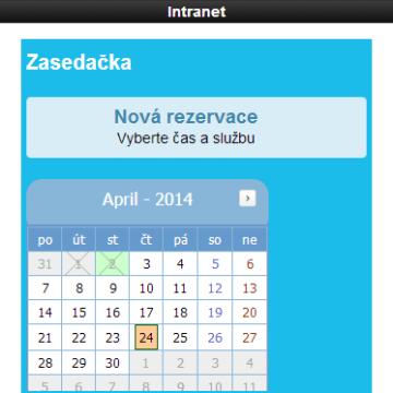 Mobilní intranet aplikace - rezervace zasedačky přímo z aplikace