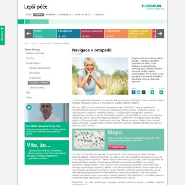 Webová prezentace Lepší péče podstránka