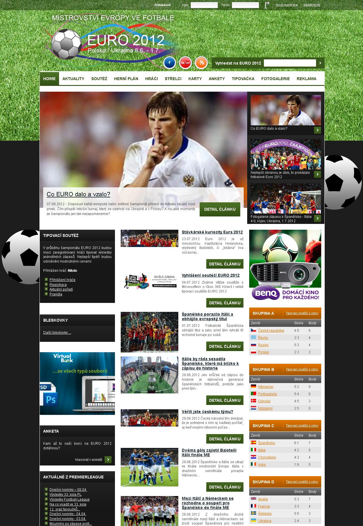 Web EURO 2012.cz - mistrovství ve fotbale 1
