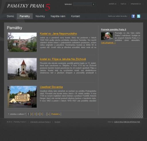 Webové stránky pamatkypraha5.cz