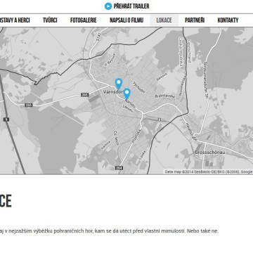 Webová prezentace filmu Odborný dohled nad východem slunce lokace