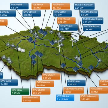 ČEZ - Infografika pro magazín ŠŤÁVA - mapa obnovitelné zdroje