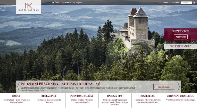 Hotel Kašperk - úvodní stránka se střídajícími se fotografiemi