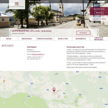 Hotel Kašperk - stránka kontaktů s integrovanou Google mapou