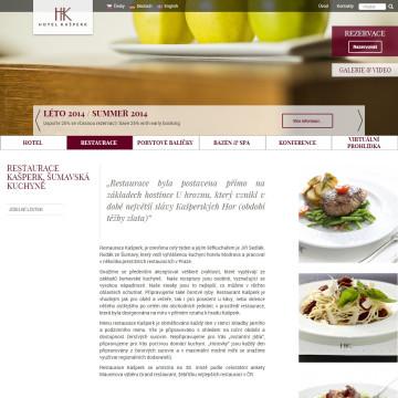 Hotel Kašperk - stránka restaurace
