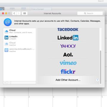 Internetový kalendář MAC - přidat účet