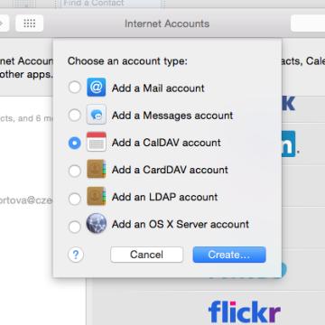 Internetový kalendář MAC - přidat účet CalDAV