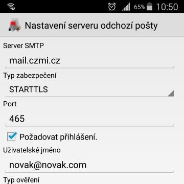 Android SMTP K9 nastavení