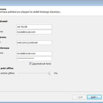 Outlook nastavení ActiveSync