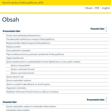 Výroční zpráva České pojišťovny 2014 - obsah