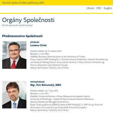 Výroční zpráva České pojišťovny 2014 - prezentační část