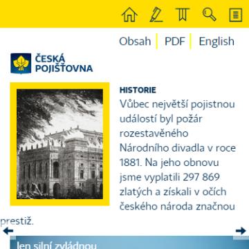Výroční zpráva České pojišťovny 2014 na telefonu - úvodní stránka