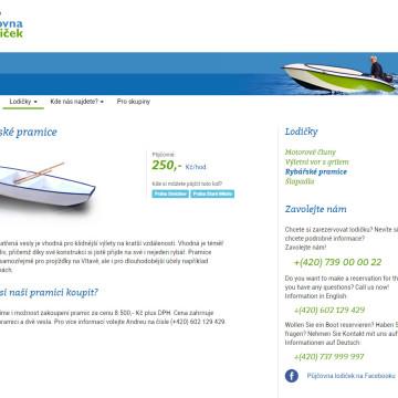 Půjčovna lodiček - stránka plavidla