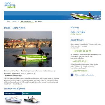 Půjčovna lodiček - stránka přístaviště s mapou