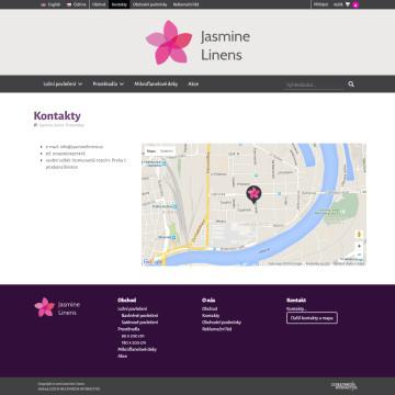 E-shop Jasmine Linens - stránka s kontakty