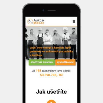 Aukcejinak.cz - zobrazení na mobilním zařízení