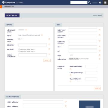 Extranet Husqvarna - administrace - správa prezentace dealera