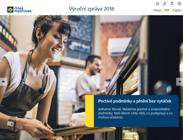Výroční zpráva České pojišťovny 2016 - úvodní strana