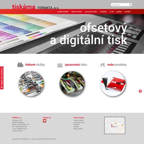 Webová prezentace Tiskárna Fermata - úvodní strana