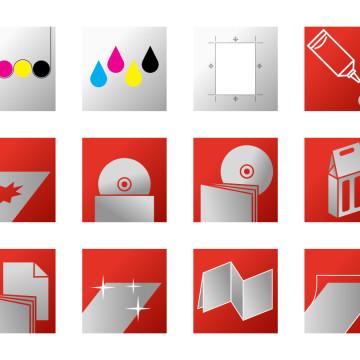Webová prezentace Tiskárna Fermata - sada ikon pro produkty a služby