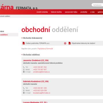 Webová prezentace Tiskárna Fermata