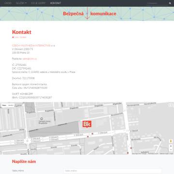 Bezpečná komunikace.cz - kontaktní stránka