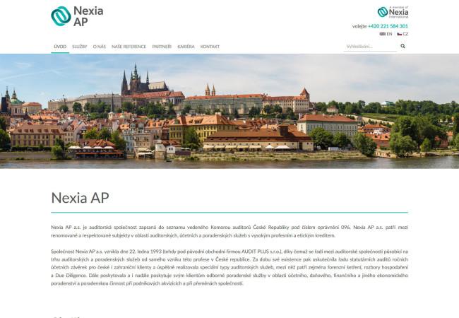 Webová prezentace NEXIA AP - úvodní strana